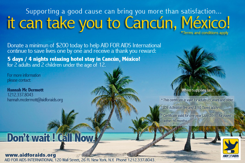 Supporting a good cause can bring you more than satisfaction..It can take you to Cancun, Mexico.